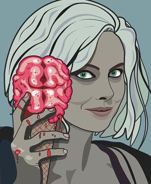 izombie imagen vectorial. cerebro en helado. Los mejores y los peores chistes de zombis