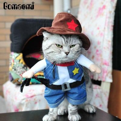 gato sheriff o vaquero. Los disfraces más divertidos para gatos y dónde comprarlos