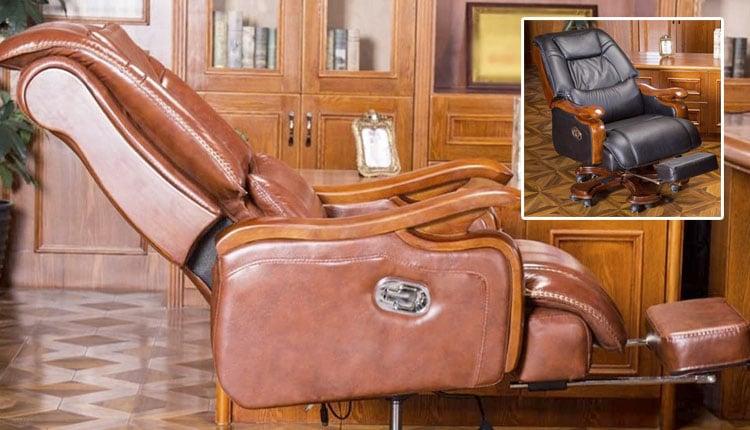 Silla de escritorio de lujo, piel y reclinable. Cosas de tecnología solo aptas para millonarios y gadgets de lujo